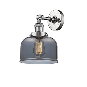 Large Bell Polished Chrome LED Wall Sconce with Smoked Dome Glass