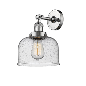 Large Bell Polished Chrome LED Wall Sconce with Seedy Dome Glass