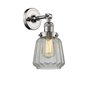 Chatham Polished Nickel One-Light Wall Sconce with Clear Fluted Novelty Glass