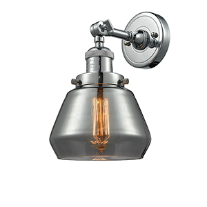 Fulton Polished Nickel LED Wall Sconce with Smoked Sphere Glass