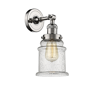 Canton Polished Nickel One-Light Wall Sconce with Seedy Bell Glass
