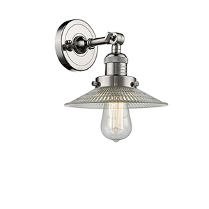 Halophane Polished Nickel One-Light Wall Sconce with Halophane Cone Glass