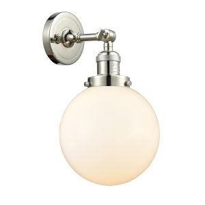 Large Beacon Polished Nickel One-Light Wall Sconce