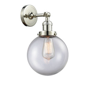 Large Beacon Polished Nickel One-Light Wall Sconce with Clear Glass