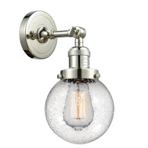 Beacon Polished Nickel LED Wall Sconce with Seedy Glass