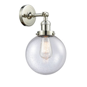 Large Beacon Polished Nickel One-Light Wall Sconce with Seedy Glass