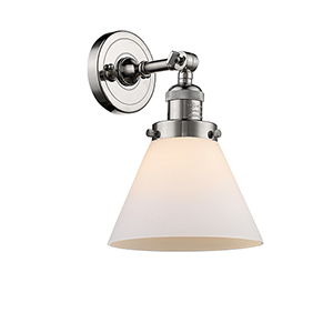 Large Cone Polished Nickel LED Wall Sconce with Matte White Cased Cone Glass