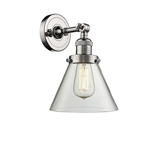 Large Cone Polished Nickel LED Wall Sconce with Clear Cone Glass