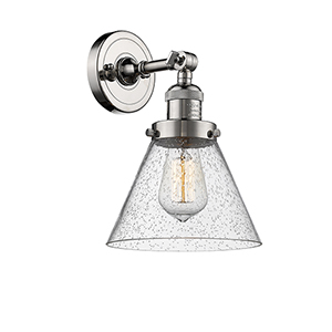 Large Cone Polished Nickel LED Wall Sconce with Seedy Cone Glass