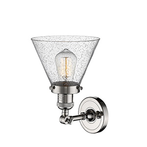Small Bell Polished Nickel One-Light Wall Sconce with Clear Bell Glass