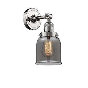 Small Bell Polished Nickel LED Wall Sconce with Smoked Bell Glass