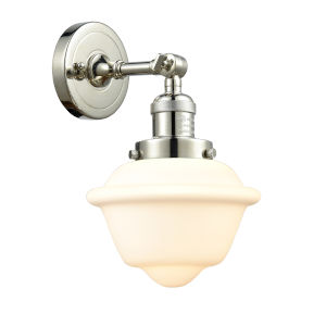 Small Oxford Polished Nickel One-Light Wall Sconce with Matte White Cased Glass