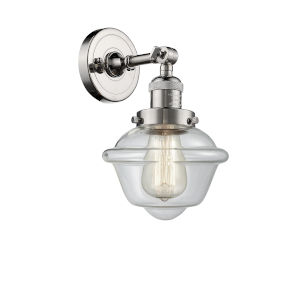 Small Oxford Polished Nickel LED Wall Sconce with Clear Glass