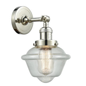 Small Oxford Polished Nickel LED Wall Sconce with Engraved Cast Cup