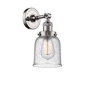 Small Bell Polished Nickel One-Light Wall Sconce with Seedy Bell Glass