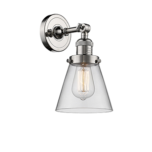 Small Cone Polished Nickel One-Light Wall Sconce with Clear Cone Glass