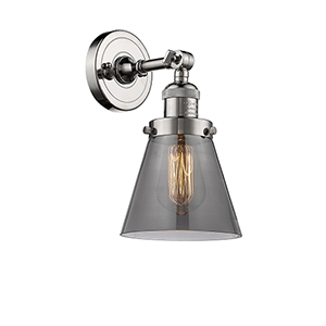 Small Cone Polished Nickel LED Wall Sconce with Smoked Cone Glass