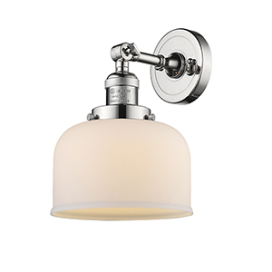 Large Bell Polished Nickel LED Wall Sconce with Matte White Cased Dome Glass
