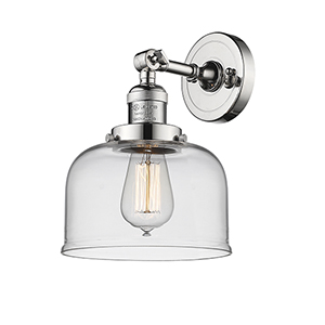 Large Bell Polished Nickel One-Light Wall Sconce with Clear Dome Glass