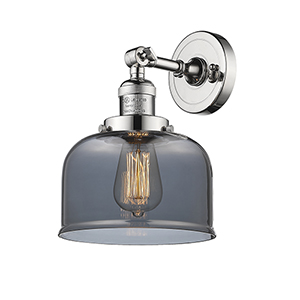 Large Bell Polished Nickel LED Wall Sconce with Smoked Dome Glass