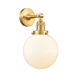 Franklin Restoration Satin Gold 14-Inch One-Light Wall Sconce with Matte White Cased Beacon Shade