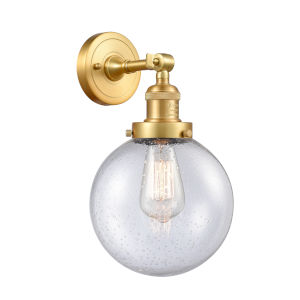 Franklin Restoration Satin Gold Eight-Inch LED Wall Sconce with Seedy Beacon Shade