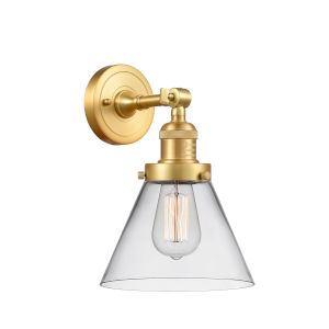 Franklin Restoration Satin Gold 10-Inch One-Light Wall Sconce with Clear Cone Shade
