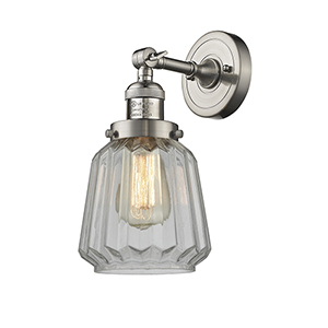Chatham Brushed Satin Nickel One-Light Duo Mount with Clear Fluted Novelty Glass