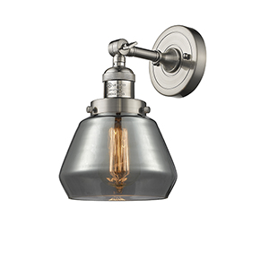 Fulton Brushed Satin Nickel 11-Inch One-Light Wall Sconce with Smoked Sphere Glass
