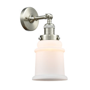 Canton Brushed Satin Nickel One-Light Wall Sconce with Engraved Cast Cup