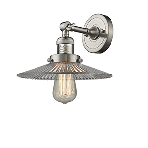 Halophane Brushed Satin Nickel Eight-Inch LED Wall Sconce with Halophane Cone Glass
