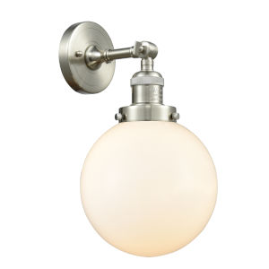 Franklin Restoration Brushed Satin Nickel Eight-Inch LED Wall Sconce with Matte White Glass Shade