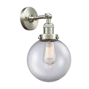 Large Beacon Brushed Satin Nickel One-Light Wall Sconce with Clear Glass