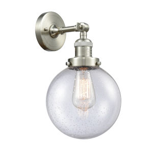 Franklin Restoration Brushed Satin Nickel Eight-Inch LED Wall Sconce with Seedy Glass Shade