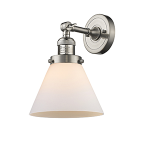 Large Cone Brushed Satin Nickel 10-Inch One-Light Wall Sconce with Matte White Cased Cone Glass