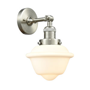 Small Oxford Brushed Satin Nickel LED Wall Sconce with Matte White Cased Glass