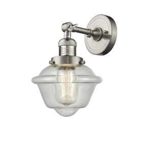 Small Oxford Brushed Satin Nickel LED Wall Sconce with Engraved Cast Cup