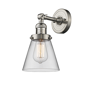 Small Cone Brushed Satin Nickel Six-Inch LED Wall Sconce with Clear Cone Glass