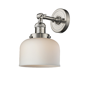 Large Bell Brushed Satin Nickel LED Wall Sconce with Matte White Cased Dome Glass