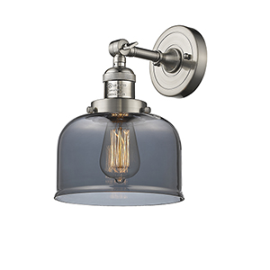 Large Bell Brushed Satin Nickel LED Duo Mount with Smoked Dome Glass