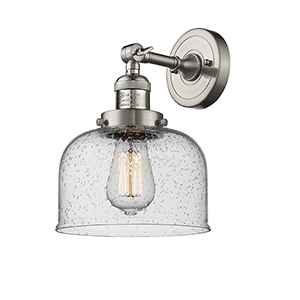 Large Bell Brushed Satin Nickel LED Duo Mount with Seedy Dome Glass