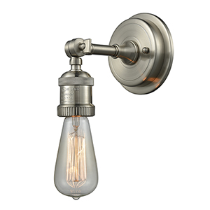 Bare Bulb Brushed Satin Nickel Five-Inch One-Light Wall Sconce