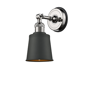 Addison Brushed Brass One-Light Wall Sconce with Matte Black Metal Shade