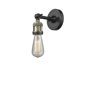 Bare Bulb Black Brushed Brass One-Light Reversible Wall Sconce