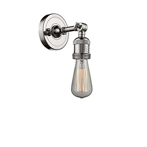 Bare Bulb Polished Nickel One-Light Reversible Wall Sconce