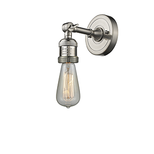 Bare Bulb Brushed Satin Nickel One-Light Reversible Wall Sconce