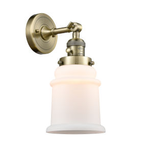 Canton Antique Brass One-Light Wall Sconce with Matte White Glass