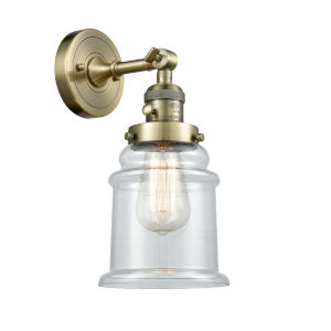 Canton Antique Brass One-Light Wall Sconce with Clear Glass