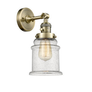 Canton Antique Brass One-Light Wall Sconce with Seedy Glass