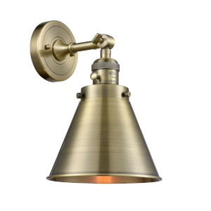 Appalachian Antique Brass One-Light Wall Sconce with High-Low Off Switch